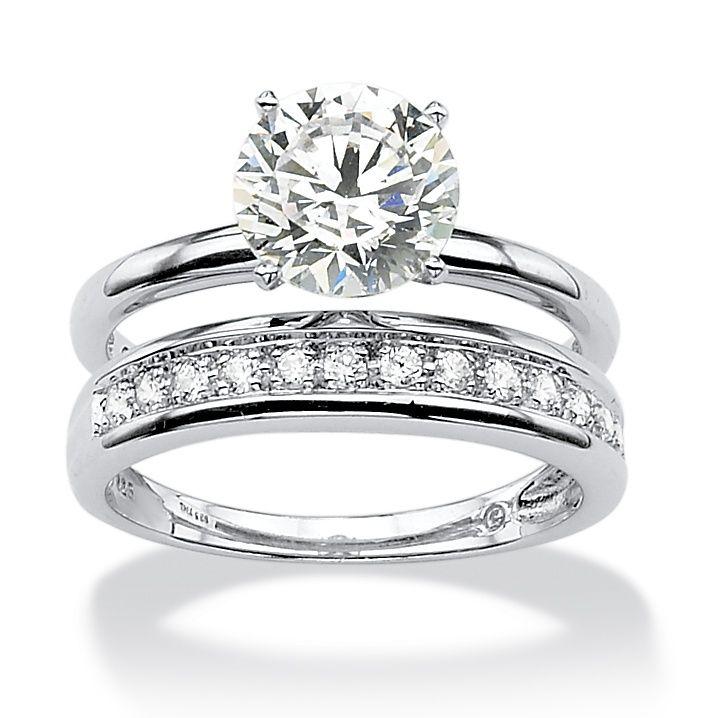 220 tcw round cubic zirconia wedding ring set in platinum