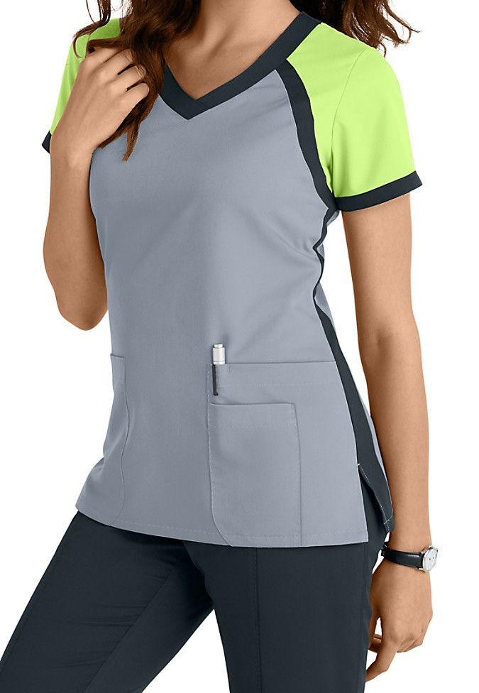 Greys Anatomy color block v-neck top. Main Image