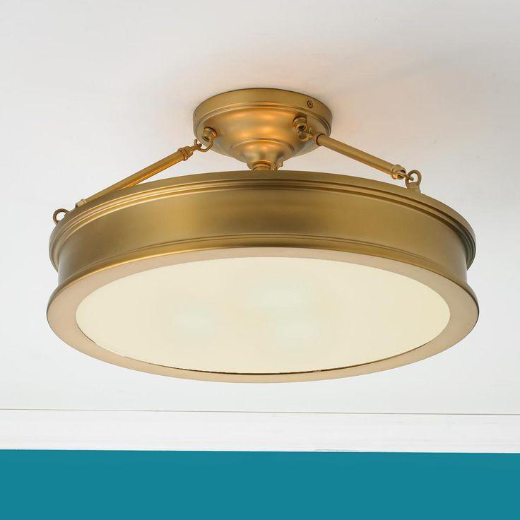 "Shades of Light .com   Traditional Urban Semi Flush Ceiling Light   antique brass finish   3x 100w   19""dia x 9.75""h   Product SKU: FM13035 AB   299.00 retail"