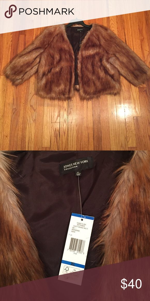Super chic faux fur jacket! Fur Jacket with 3/4 sleeves. Has pockets on sides that are not noticeable Jones New York Jackets & Coats