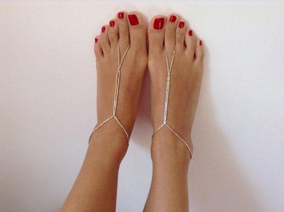 Silver Barefoot Sandals wedding Bikini Women by TSColorfulWorld