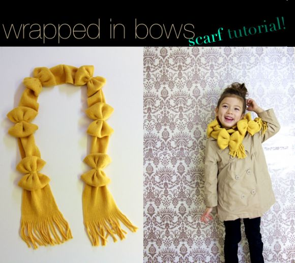 Dollar Store Craft - wrapped in bows scarf by Ruffles & Stuff -- featured on dollarstorecrafts.com
