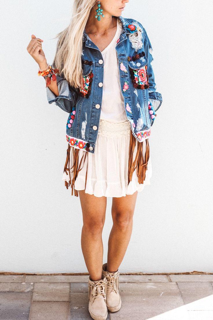 constantlyk.com karin kaswurm in her boho chic jeans jacket ibiza fashion, style
