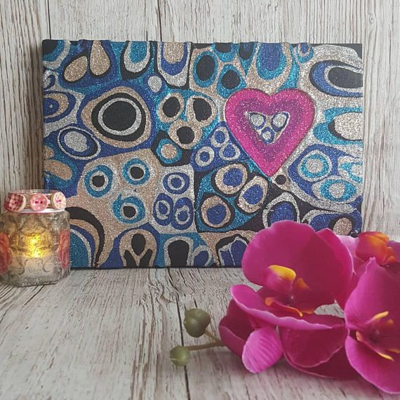 Blue, Black and Silver Glitter Painting Mixed Media Original Abstract Artwork with Pink glitter heart