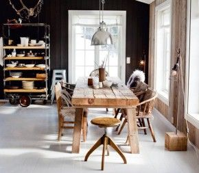 //: Dining Rooms, Cabin, Kitchens Design, Kitchens Tables, Rustic Tables, Wood Tables, Wooden Tables, Dark Wall, Black Wall