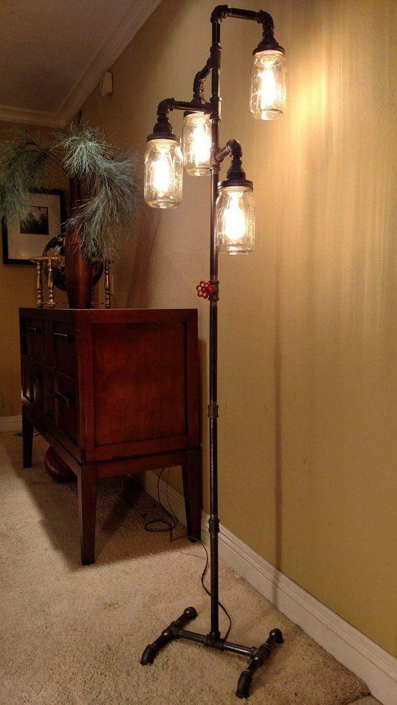 Pipe Floor Lamp INCLUDES 4 Bulbs 4 Fixture Living Room Steampunk Mason Jar  #DIYfurniture