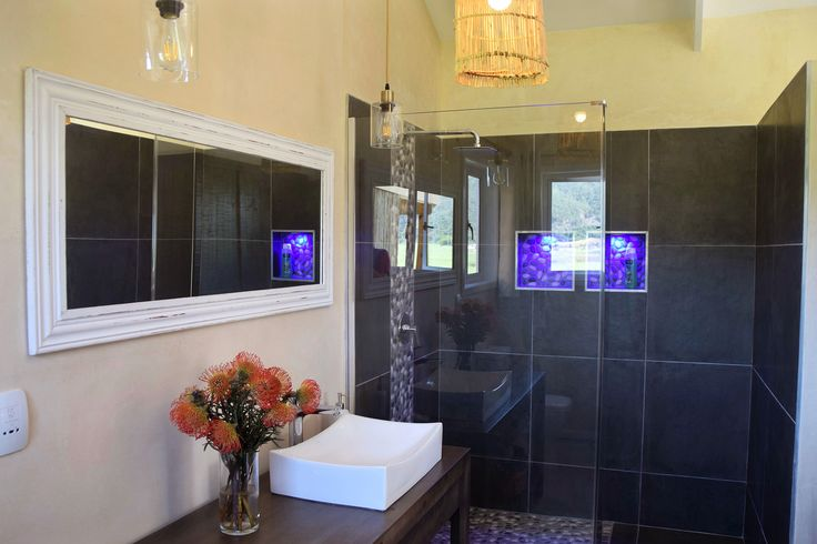 Walk-in shower in the Loerie and Kingfisher cottage