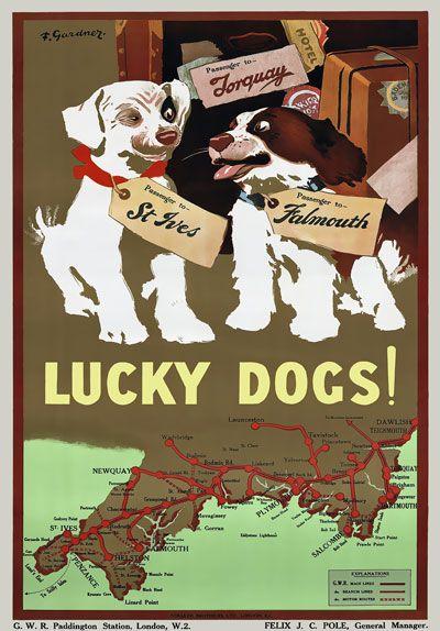 Vintage Travel Railway Poster, Great Western Railway. #torquay #devon www.ilovesouthdevon.com