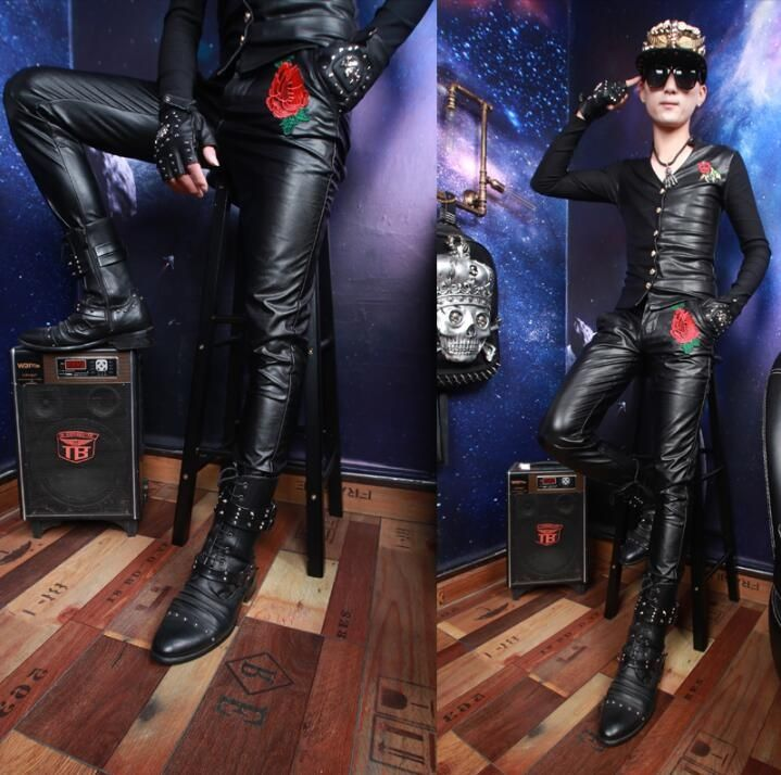 Stage personality motorcycle mens leather pants men feet trousers singer dance rock fashion pantalon homme street windproof