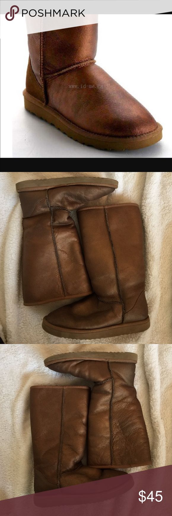 Copper metallic UGG boots These have been worn so there are a couple spots where the metallic is faded and they do show signs of wear if you would like more pictures please just ask they are super cute and great for fall very shiny bundle for a better price! UGG Shoes Winter & Rain Boots