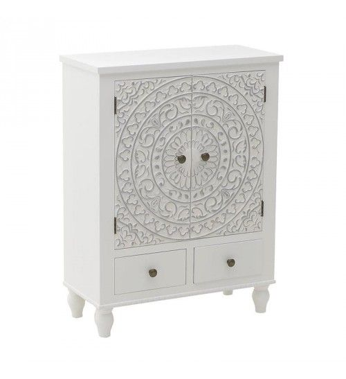 WOODEN CABINET W_2 DRAWERS IN WHITE COLOR 65X30X86_5