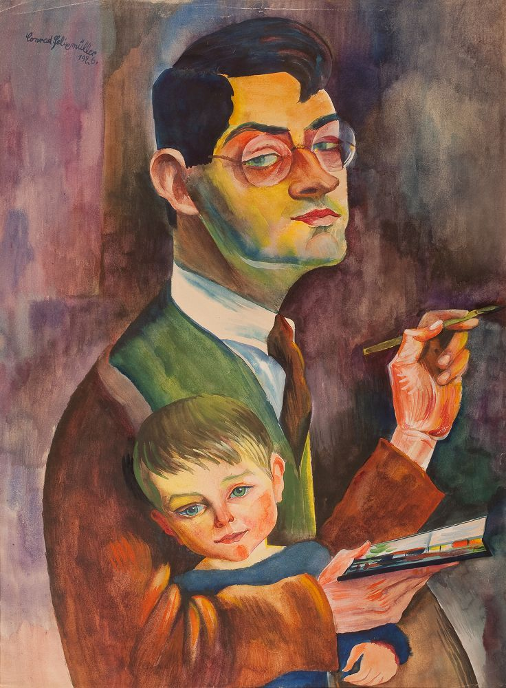 Conrad Felixmüller - Self portrait with son - 1926 (I saw some of his world war 2 paintings in Liverpool, he is truly amazing)