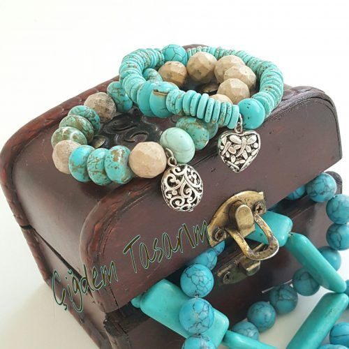 Turquoise Bracelets with silver heart and oval charms. Chiki Design