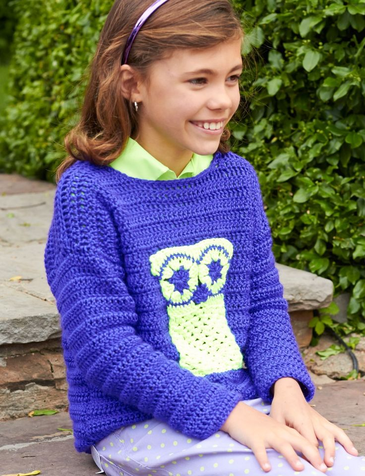 72 best crochet kidsbaby clothes images on pinterest free free crochet childs pullover pattern owl themed perfect for back to school fandeluxe Image collections