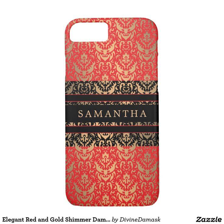 Elegant Red and Gold Shimmer Damask Custom Name iPhone 7 Case