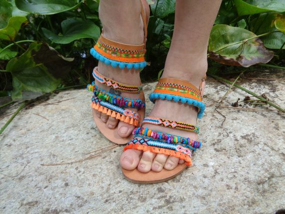 "Greek Leather Sandals ""Iliovasilema"", pom pom sandals, boho sandals, by Oniropolis"