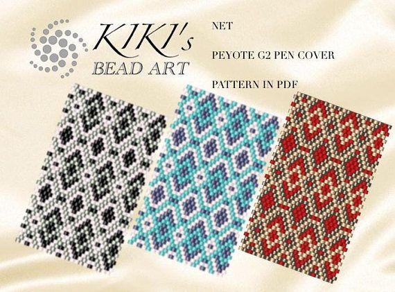 Pattern peyote pen cover Silvery Golden Turquoise Net
