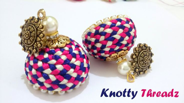 How to make Silk Thread Jhumkas (Braided) with Antique Studs at Home | T...