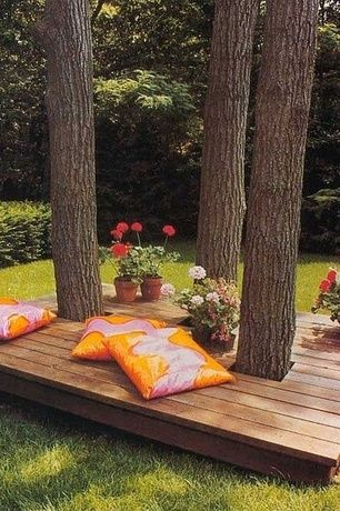 Eclectic Deck with Terrain Linen Wrapped Wide Rim Pot Terracotta, West Elm Silk Hand-Loomed Pillow Cover Cayenne