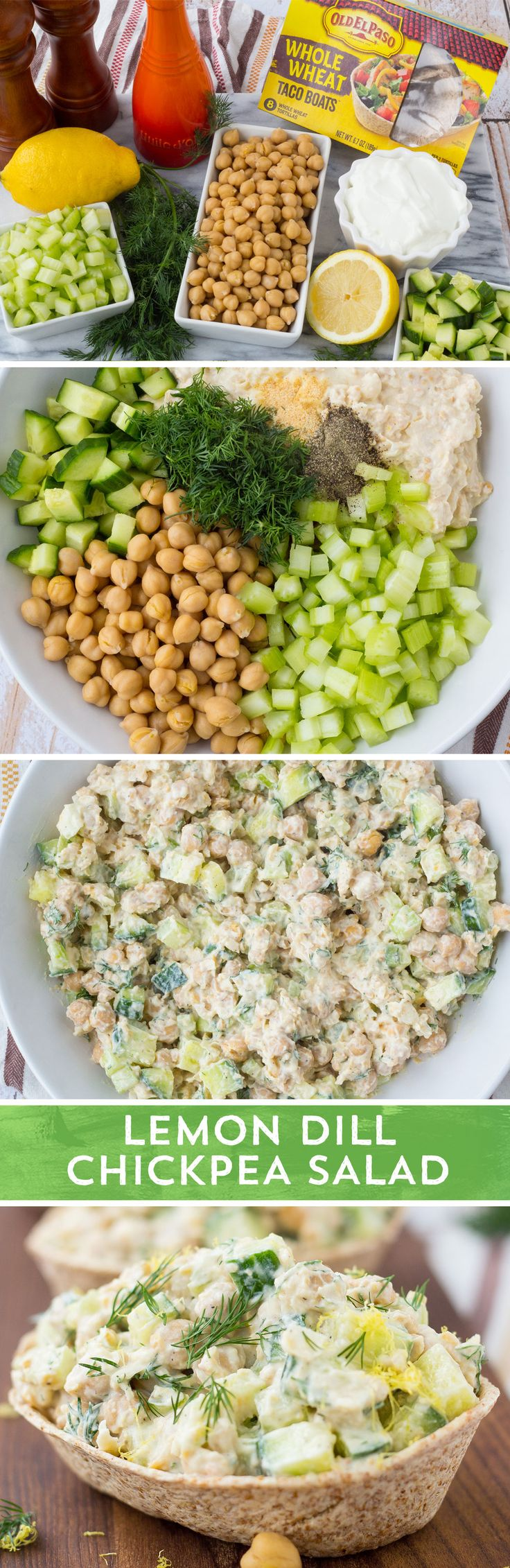 This healthy and easy vegetarian meal from @RachelCooksBlog will be your new go-to for lunch and dinner.For this flavorful and delicious salad simply mash half of the chickpeas with lemon juice, Greek yogurt, olive oil, and a few basic spices. Add the remaining chickpeas, cucumber and celery for some extra crunch and fresh dill for added flavor. Stir together, load into Old El Paso™ Whole Wheat Taco Boats, and enjoy!