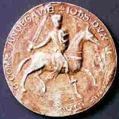 Jean sans terre - Reproduction de sceau utilisée avec l'aimable autorisation du site Sigillum.- En 1207, Philippe-Auguste, après avoir pris Thouars, s'empare de Parthenay, et fait prisonnier Hugues I°. En mai 1214, Jean Sans Terre débarque à nouveau à La Rochelle pour reconquérir les domaines Plantagenêt. Hugues I° est toujours à ses côtés.