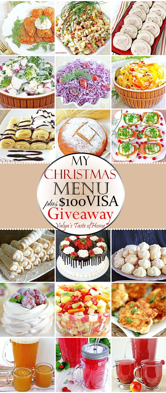 In today's post you will find collection of the recipes we usually make for major holidays like Christmas and Ester. Since some of you ask what my Christmas menu is, I am more than happy to share it with you.  At the end of this post you may enter to win $100 VISA Gift Card. You may enter once each day.
