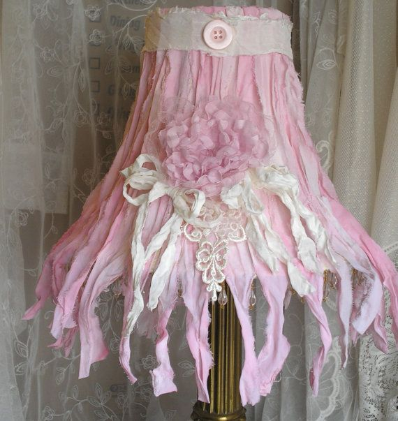 Hey, I found this really awesome Etsy listing at https://www.etsy.com/listing/180241353/pink-silk-ribbon-lampshade-shabby-chic