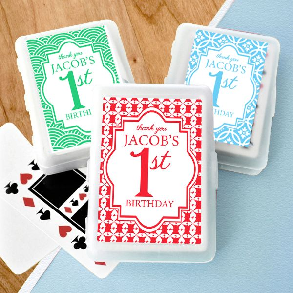 something a little different for a gift. 1st Birthday Party Personalised Playing Cards
