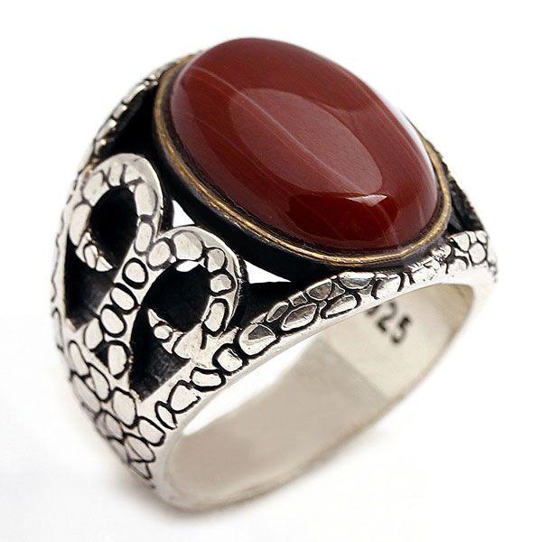 Akik taşlı, 925 ayar, gümüş erkek yüzüğü