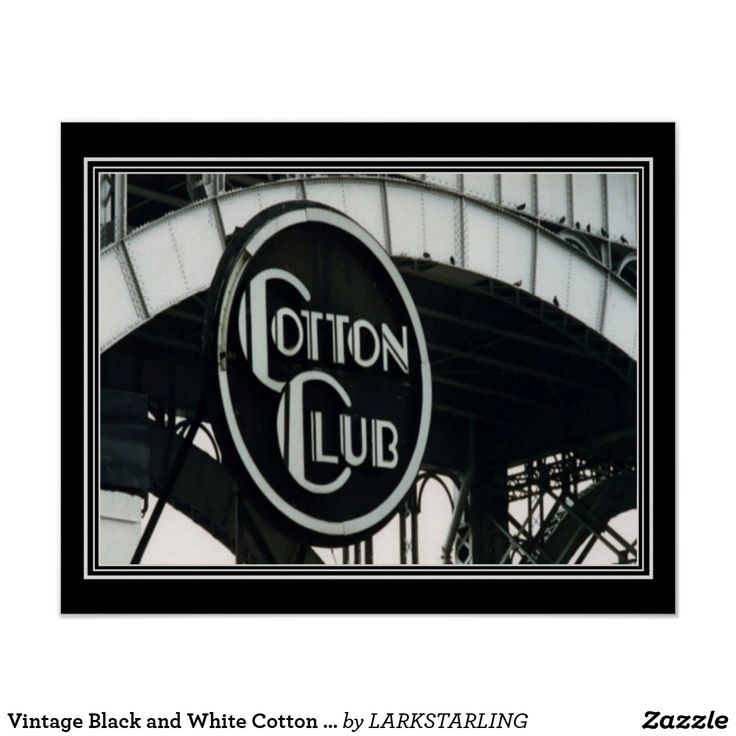 Vintage black and white cotton club print 16 x 20 black and white gifts unique special bw style