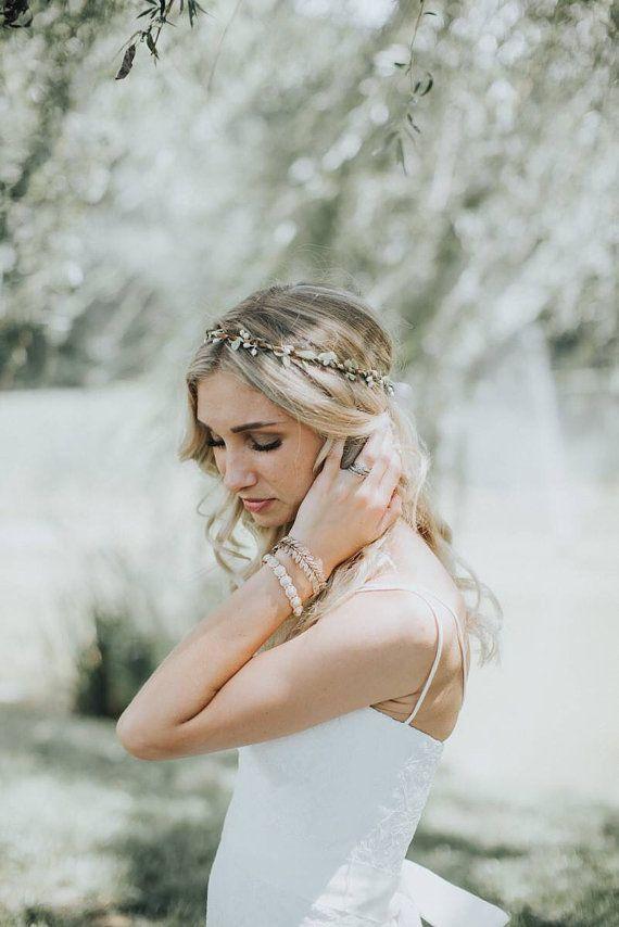 Bloem kroon | Bruids zendspoel | Natuurlijke bruiloft haar krans | Rustieke bruids douche | Griekse bruids kroon | Bruids Halo zendspoel | Circlet