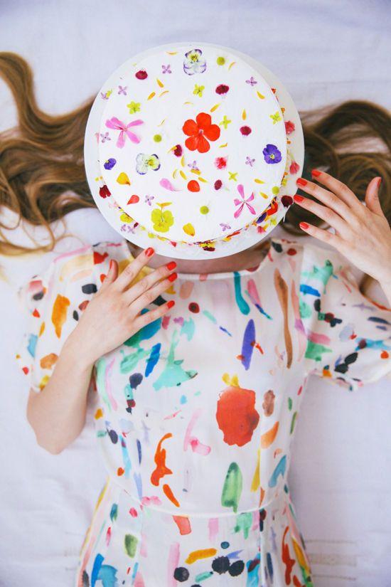 cake with edible flowers | designlovefest  SAMANTHA PLEET SILK PALETTE CEREUS DRESS