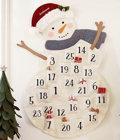 Cutest little snowman advent calendar « pottery barn kids