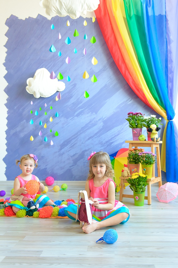Rainbow, photo session, clouds, girl in rainbow dress