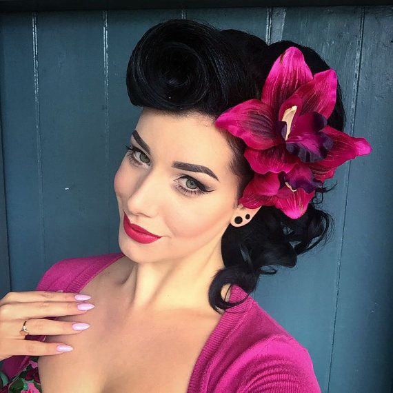 rockabilly hairstyles with flowers - Google Search