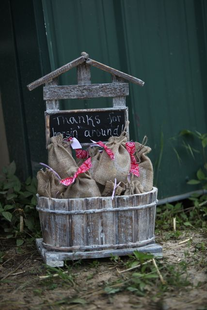 Burlap bag favors at a Pony girl birthday party! See more party ideas at CatchMyParty.com!