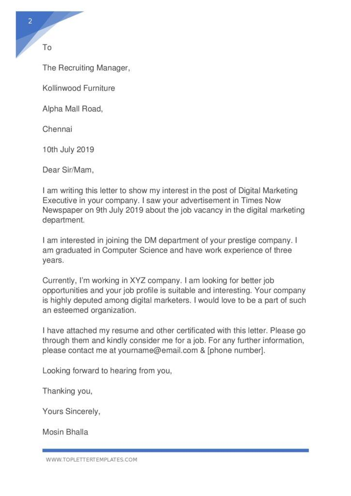 Simple Application Letter Sample For Any Vacant Position Word Pdf Top Le In 2021 Simple Application Letter Simple Job Application Letter Application Letter Sample