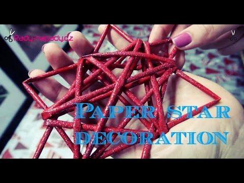 videonávod česky Vánoční hvězdička z papírových ruliček (Paper star) DiY - YouTube