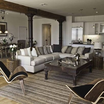 Cream Leather Sectional Design Ideas, Pictures, Remodel, and Decor - page 5