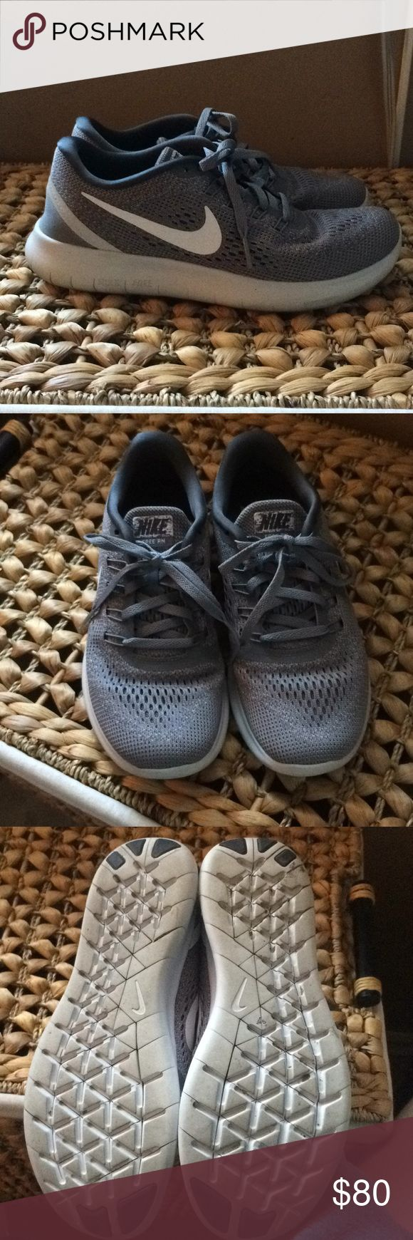 Nike Free Runners Nike Free Runners only worn a few times. I have too many running shoes and use the others more so getting rid of these ones. Pretty gray color. Great condition. Only real sign of wear is on the bottom Nike Shoes Sneakers