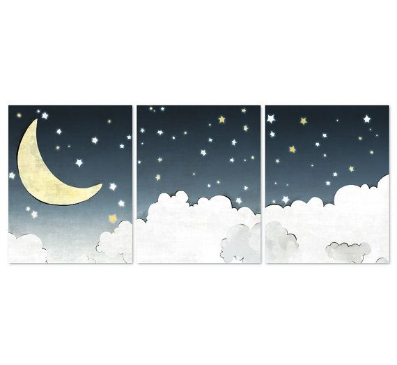 Clouds and Moon Nursery Prints - SET of 3 - Stars Kids Room Decor, Navy Nursery Wall Art, Moon Drawing Stars Art