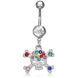 Piercing do pupíku - lebka s kamínky PBV00546. Krásné barevné kamínky, které v kombinaci s lebkou vypadají opravdu skvěle. http://www.piercingate.cz/piercing-do-pupiku-lebka-s-kaminky-pbv00546