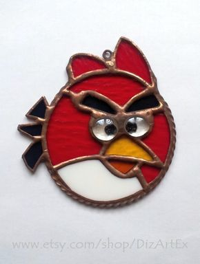 Angry Birds For Fans. Red Pendant Of Stained Glass. Handmade. DizArtEx.