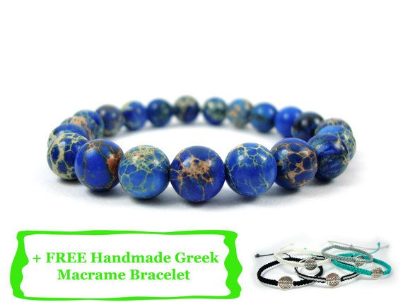 FREE SHIPPING Handmade Greek Natural Jasper Aegean Blue Color Stones Men Women Unisex Bracelet + FREE Handmade Greek Macrame Bracelet on Etsy, 18,00 €