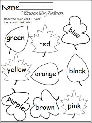 long winter coats Free color worksheet   Perfect for the fall   Students read the color words and color the leaves that color