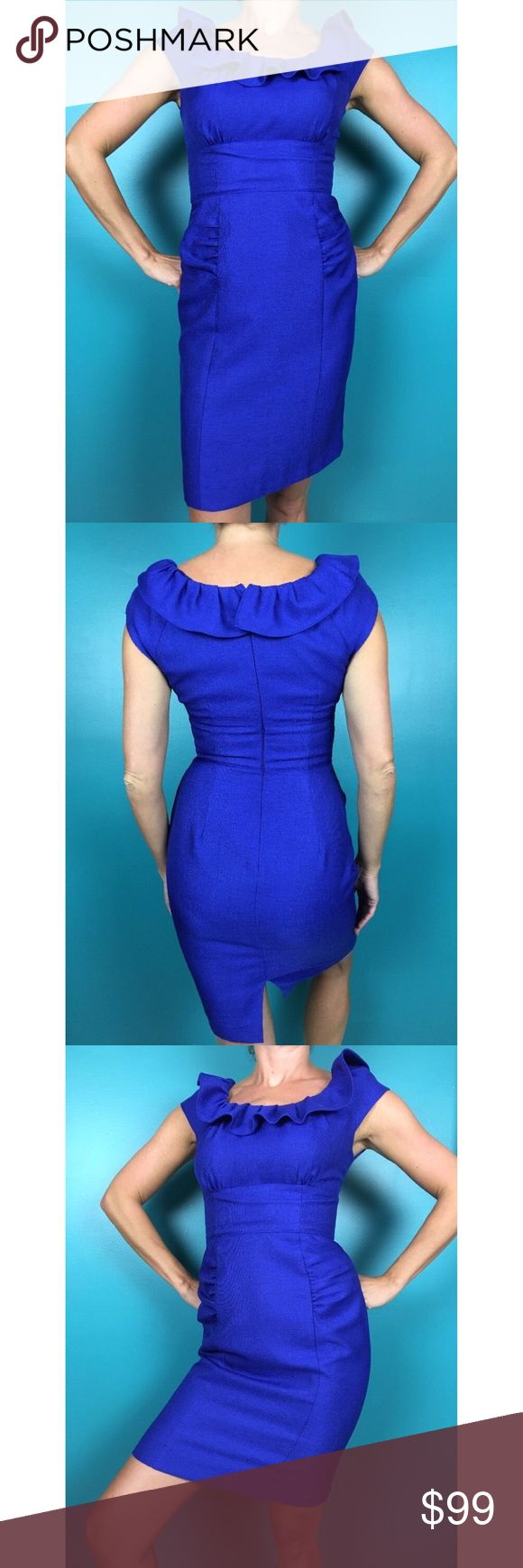 Kay Unger Royal Blue Short Sleeve Rouched Dress 4 Be a vision in this royal blue dress 💎💙😍💋 Kay Unger Dresses