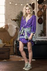 SPELL DESIGNS BOHEMIAN ROYALE PLAYDRESS - DEEP PURPLE from naked labels