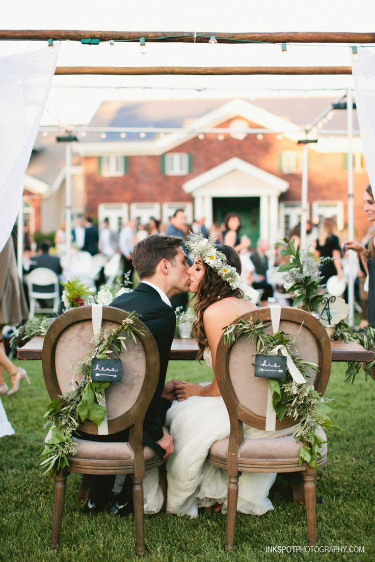 We can't stop swooning over the newlyweds chair decor!   Wedding Chair Signs   Sweetheart Table Decor   Sweetheart Table Chair Signs   Sweetheart Table Ideas   Head Table Chair Signs   His and Hers Chair Signs   #sweethearttable #headtable #chairsigns