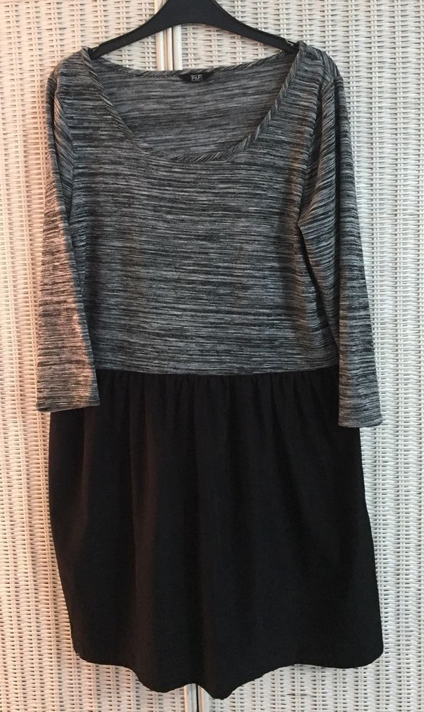 Size 14 Florence and Fred Black and Grey  Top/Dress with satin style skirt  | eBay