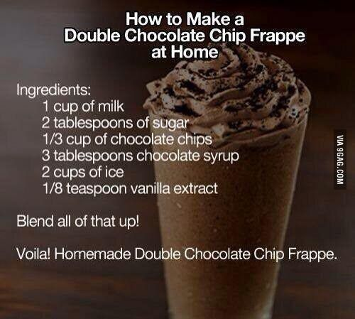 Homemade double chocolate chip frappe